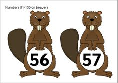 Numbers 51-100 on beavers (SB9539) - SparkleBox