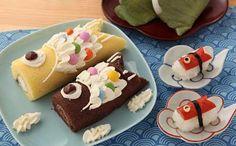 ロールケーキで鯉のぼり (Roll cake fish edition) Japanese Roll Cake, Japanese Sweets, Swiss Roll Cakes, Patterned Cake, Appetizers For Kids, Creative Cakes, No Bake Desserts, Bakery, Good Food