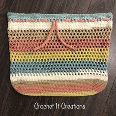 Carry All Drawstring Tote Free Crochet Pattern - Crochet it Creations