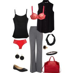 """Office Ready in Red"" by brittany-speaks on Polyvore with the Essential Bodywear Garnet Lace Abbie Bra  Great looks start with a great fit underneath. Get tips and assistance on getting a perfect fitting bra  Order here: http://www.myessentialbodywear.com/A11779/#&panel1-1  Visit to see more information here: www.facebook.com/bestbraboutique"