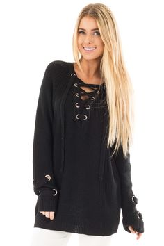 2e5dfa60d2 Lime Lush Boutique - Black Long Sleeve Knit Sweater with Lace Up Details
