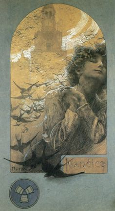 Alphonse Mucha  Swallows with a tower in the background and a young girl in the foreground. This piece of art is a bit more somber than most of his works.
