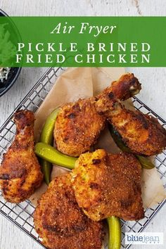 This recipe for pickle brined fried chicken is amazing! Use your leftover pickle brine to brine chicken and then AIR FRY it for a delicious crispy dinner. You will be love the way it comes out in your air fryer and so much better for you than deep fried chicken. #bluejeanchef #airfryerchicken #friedchicken #picklebrined Air Fry Everything, Brine Recipe, Pickle Brine Chicken Recipe, Fried Chicken Marinade, Fried Chicken Brine, Chicken Pickle, Tandoori Chicken, Blue Jean Chef, Air Frying