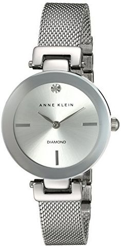Anne Klein Womens AK2473SVSV DiamondAccented SilverTone Mesh Bracelet Watch -- Check out this great product.
