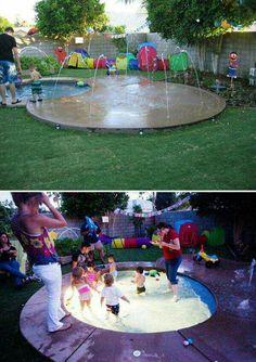 Ideas backyard fun ideas for kids splash pad for 2019 Kids Outdoor Play, Outdoor Play Areas, Kids Play Area, Backyard For Kids, Backyard Projects, Diy Projects, Outdoor Games, Outdoor Activities, Outdoor Playset