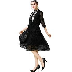 S- 5XL   Front Lace  Midi Dress Chiffon Mock Neck Sleeve Stretch Cinched Waist  Black Oh Yeah Get it here