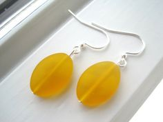 Yellow Glass Earrings  Frosted Glass  Oval by Sparkleandswirl