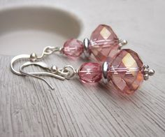 Soft pink earrings silver and glass  GRACE  by sparklingtwi, $14.25