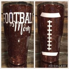 The woman or man in your life needs this awesome Football inspired glitter tumbler that can be customized with any color glitter and vinyl. Please leave any preferences (customized details) in the Notes to Seller. Diy Tumblers, Insulated Tumblers, Custom Tumblers, Glitter Tumblers, Tumblr Cup, Mom Tumbler, Tumbler Stuff, Personalized Mother's Day Gifts, Personalized Tumblers