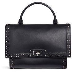 Givenchy 'Shark' medium stud leather shoulder bag ($3,225) ❤ liked on Polyvore featuring bags, handbags, shoulder bags, black, studded leather handbags, travel handbags, shoulder handbags, structured purse and givenchy handbags