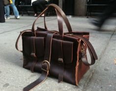 Esplanade overnight bag / brown travel bag / by LUSCIOUSLEATHERNYC