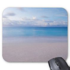 Relaxing Tropical Beach Scene Mouse Pad Custom Office Retirement #office #retirement