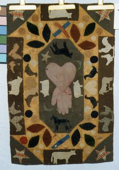 """The Quilt Index, later half of 19th century, wool, velvet, men's suiting, jute burlap, checked & plaid fabric, edges turned in, no separate binding, not quilted, 24-1/2"""" x 37"""""""