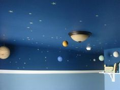 Spaced-out ceiling for kid's room.  Love this b/c it keeps the dark paint to a minimum w/ that high chair rail.