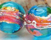 Handmade lampwork beads, made to order, rounds, transparent aquamarine blue pink yellow fuschia purple silver opal copper gold, sra