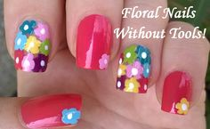 No tools needed floral #nailart for #summer - For more easy #naildesigns please subscribe to my YouTube channel: https://www.youtube.com/user/LifeWorldWomen Thank you! :)