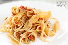 Pasta con salmón y atún - http://www.thermorecetas.com/pasta-con-salmon-y-atun/