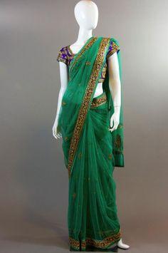 Emerald Green Purple Net Saree