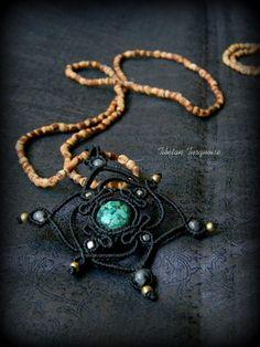 NEW!! Tibetan Turquoise Macrame Pendant. Sacred geometry. Tulsi necklace. Healing stone. Throat Chakra