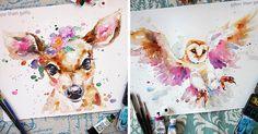 Jej pestrofarebné akvarelové maľby zvierat sú plné energie, až máte pocit, že vyskočia z papiera a začnú behať a poletovať. Sally Welsh Sillier Than Sally