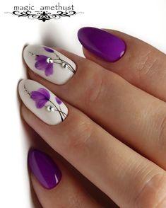 Purple Acrylic Nails, Purple Nail Art, Purple Nail Designs, Floral Nail Art, Pretty Nail Art, Feather Nail Art, Flower Nail Designs, Acrylic Nail Designs, Stylish Nails