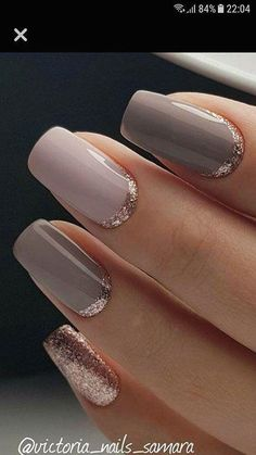 Pink and taupe and rose gold nails rose gold glitter nails, gold gel nails, Trendy Nail Art, Stylish Nails, Elegant Nail Designs, Nail Art Designs, Nails Design, Sparkle Nail Designs, Sparkle Nails, Gel Nails, Nail Polish