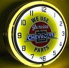 Chevy 18 Double Neon Light Clock Parts Garage Bowtie Emblem Truck Car Lot Sign