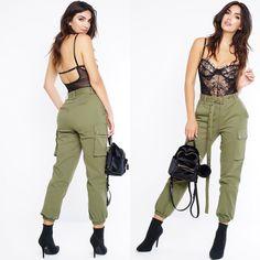 Fashionista SEARCH: Cargo Joggers- Olive SESRCH: Nena Bodysuit - Black