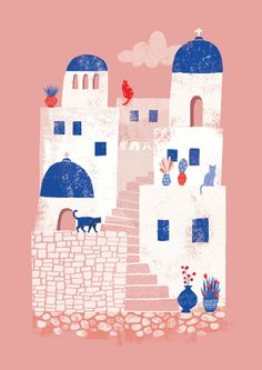 Cute art print of the island of Santorini in Greece, portraying its lovely white houses, numerous cats and colourful flower pots. By Essi Kimpimäki
