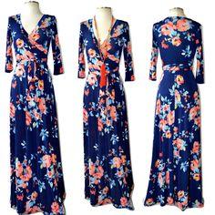 JANETTE - The FAMOUS NAVY FLORAL PRINT Boho Maxi Wrap Dress Coral Multi USA S-L #Janette #MaxiWrapDress #SummerBeach