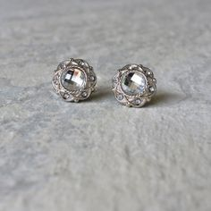 Inexpensive silver and crystal earrings, vintage style, $9
