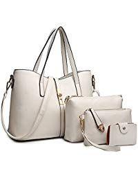 SIFINI Women Fashion PU Leather Handbag Shoulder Bag Purse Card Holder Set Tote (white) *** For more information, visit image link. High End Handbags, Cheap Handbags, Tote Handbags, Leather Handbags, Leather Wallet, Leather Bag, Replica Handbags, Black Handbags, Designer Handbags