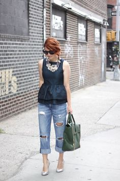 peplum top with ripped jeans