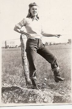 Millie ran a ranch during WWII in the Rocky Mountains of Colorado. I wish I knew the story behind this real-life photograph.