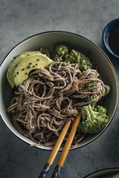 Black Sesame Soba Noodles | Noodles marinated in tahini and a sesame sauce that have a sweet kick to them | http://thealmondeater.com