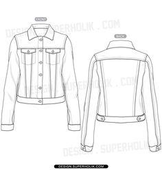 Fashion design templates, Vector illustrations and Clip-artsDenim jacket template - fashion design Vector body form sketch