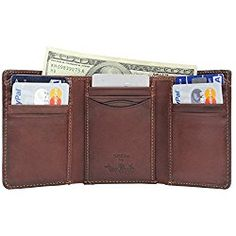 7706bc3c6b29 Tony Perotti Mens Italian Cow Leather  Personalized Initials Embossing   Classic Trifold Wallet with ID Window in Brown