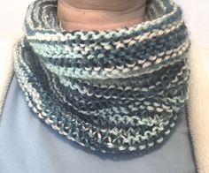 Cowl Scarf in Variegated White to Medium Blue by InACreativeTizzy on Etsy