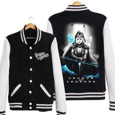 LOL Ashe design baseball uniform style mens black sweatshirt plus size design