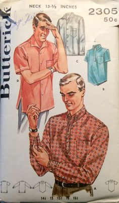 Vintage 1960's Uncut Sewing Pattern Mens Shirts by RaimentReSource
