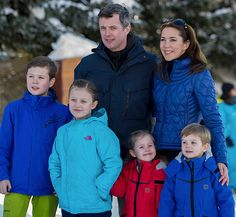 Princess Mary and Prince Frederik with their children this week in Verbiers