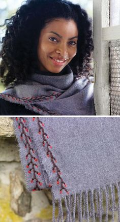 Give a tired wool scarf a dash of decorative stitching to see you through the last weeks of  winter; see the tutorial on the Etsy Blog. #DIY