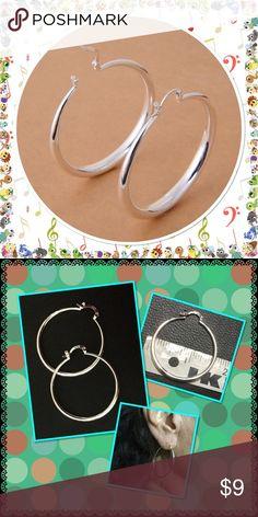 🆕 925 sterling silver hoop earrings Simple and beautiful stamped 925 sterling silver hoop earrings NWOT brand new in package Jewelry Earrings