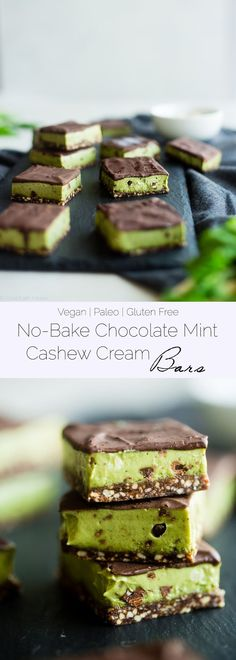 No Bake Mint Chocolate Cashew Cream Bars - These easy mint chocolate cashew cream bars are so creamy and only have 7 ingredients! They're a healthy, vegan and paleo friendly dessert for the holidays! | http://Foodfaithfitness.com | /FoodFaithFit/