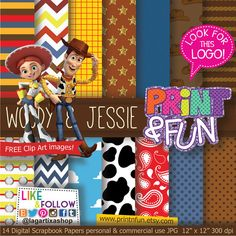 Woody & Jessie Toy Story Digital Paper Patterns by Printnfun, €3.00  https://www.etsy.com/listing/184571638/woody-jessie-toy-story-digital-paper?ref=sr_gallery_31&ga_order=date_desc&ga_view_type=gallery&ga_page=28&ga_search_type=all