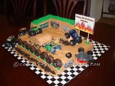 Coolest Monster Truck Rally Birthday Cake... This website is the Pinterest of birthday cake ideas