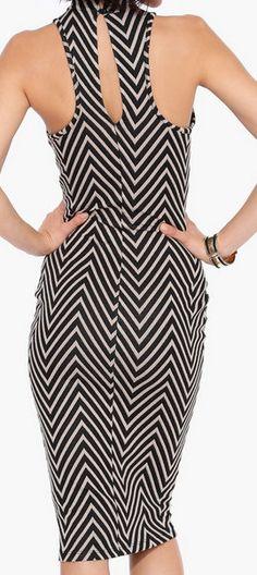 Chevron Midi Dress. open back
