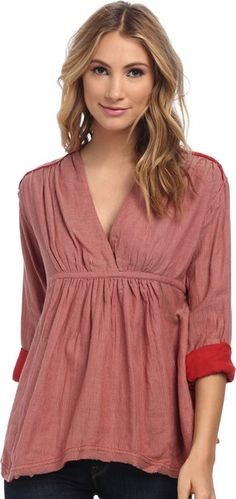 Free People Women's All Who Wander Top Red Combo Blouse SM (Women's 4-6)