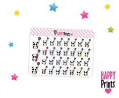 Panda bear, Clean Brushes, Planner Stickers, Kawaii stickers by HappyPrints1 on Etsy