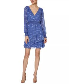 Laundry by Shelli Segal - Foil-Print Fit & Flare Dress Chiffon Ruffle, Laundry By Shelli Segal, Review Dresses, Fit Flare Dress, Dresses Online, Blue Dresses, Casual, Toast, Layers